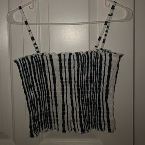 Topshop Tops - TOPSHOP blue/white stretch tank crop top size 10